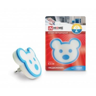 IN HOME Ночник светодиодный NL03-BB Медвежонок 230В синий (со светочувствительным датчиком)