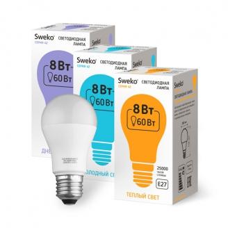 Светодиодная лампа 42 серия 42LED-A55-8W-230-3000K-E27