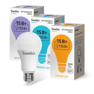 Светодиодная лампа 42 серия 42LED-A60-15W-230-3000K-E27