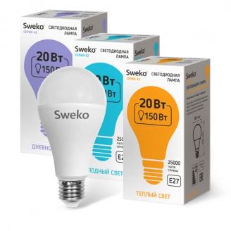 Светодиодная лампа 42 серия 42LED-A65-20W-230-3000K-E27