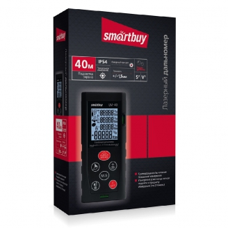 Лазерная рулетка (дальномер) LM-40, дальность 0.05-40 м, точность +/-1.5 мм, IP54, Smartbuy Tools