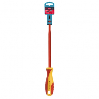 Диэлектрическая отвертка шлицевая SL6.5x150, до 1000В, VDE, прорез.ручка, серт.испыт. Smartbuy Tools