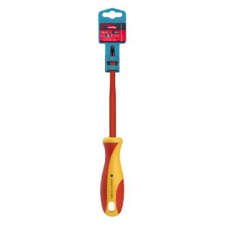 Диэлектрическая отвертка шлицевая SL4x100, до 1000В, VDE, прорез.ручка, серт. испыт. Smartbuy Tools