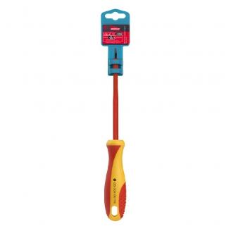 Диэлектрическая отвертка шлицевая SL3x100, до 1000В, VDE, прорез.ручка, серт. испыт. Smartbuy Tools