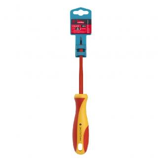 Диэлектрическая отвертка шлицевая SL2.5x75, до 1000В, VDE, прорез.ручка, серт. испыт. Smartbuy Tools