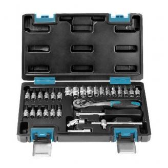 Набор головок 29 предметов, удлинитель, кардан, вороток, отверток, 1/4,24 зуба,CR-V, Smartbuy Tools