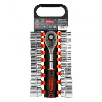 Набор головок с трещоткой 19 предметов, 1/2, 8-32 мм, 24 зуба, CR-V, Smartbuy Tools
