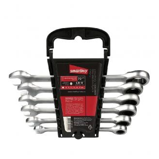Набор ключей комбинир., 6 предм., с фикс. трещот. 72 зуба, 8-10-12-13-14-17 мм, СR-V, Smartbuy Tools