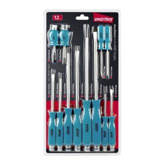 Набор отверток ударных 12 штук, крестовые и шлицевые, ручка под ключ,  СR-V Smartbuy Tools