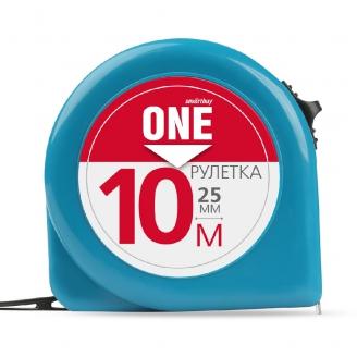 Рулетка измерительная, 10мх25мм, пластиковый корпус, фиксатор, усиленный зацеп, Smartbuy One Tools