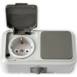 Пралеска-АКВА белый Блок Р/крышка с/з + Выкл.1кл IP54  В-РЦ-657