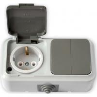 Пралеска-АКВА белый Блок Р/крышка с/з+Выкл.2кл IP54 2В-РЦ-659