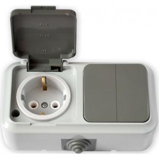 Пралеска-АКВА белый Блок Р/крышка с/з + Выкл.2кл IP54 2В-РЦ-659